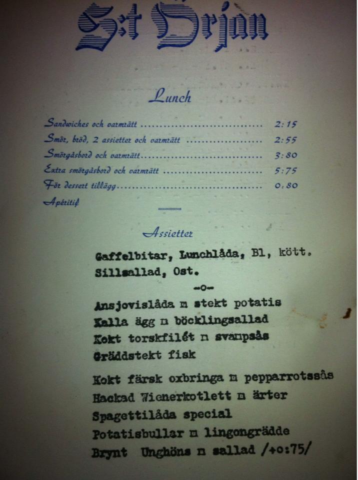 Örjansrestaurangmeny1950